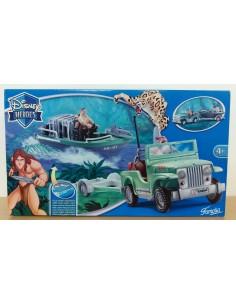 DISNEY HEROES Tarzan. Todoterreno con lancha a motor - Famosa